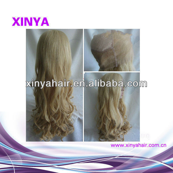 Real 100% human hair Virgin Eurasian blonde wigs long curly cheap on sale