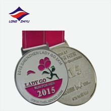 New coming design your own enamel marathon medals with neck ribbon