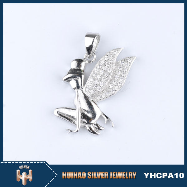 latest designs AAA zircon 925 sterling silver angel wing shaped pendant