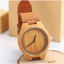 2016 100% nature bamboo wooden watch quartz movement genuine leather fashion female wrist watches