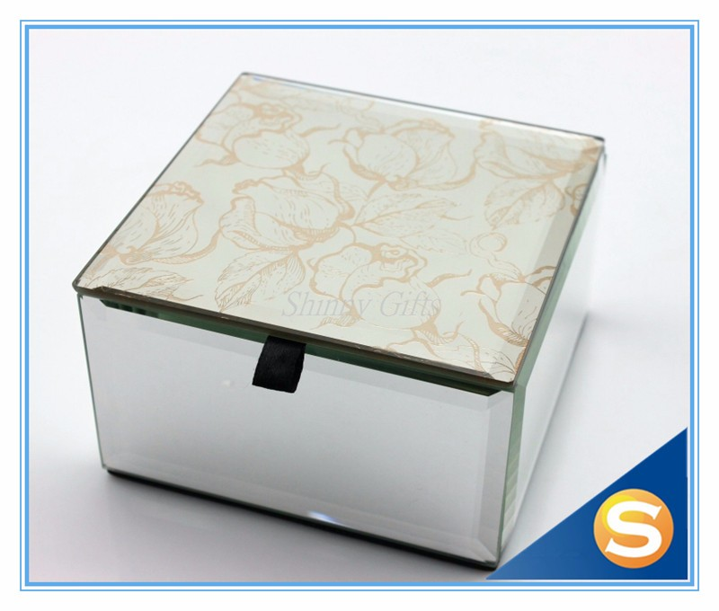 Mirrored Glass jewellery box Package gift Box