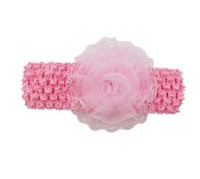 Newset arrival fashion hand band for kids boutique knitted baby girls hand band with pink rose flower