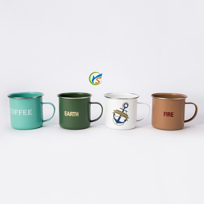 Wholesale customized logo printing metal enamel cup