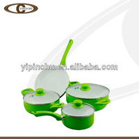 Green leaves color kitchenware set in frypan saucepan set