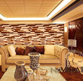 Black walnut & maple decorative wall panel for interior room, hall