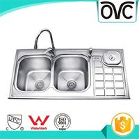 Wholesale cheap hot sale double bowls kitchen sink water tank