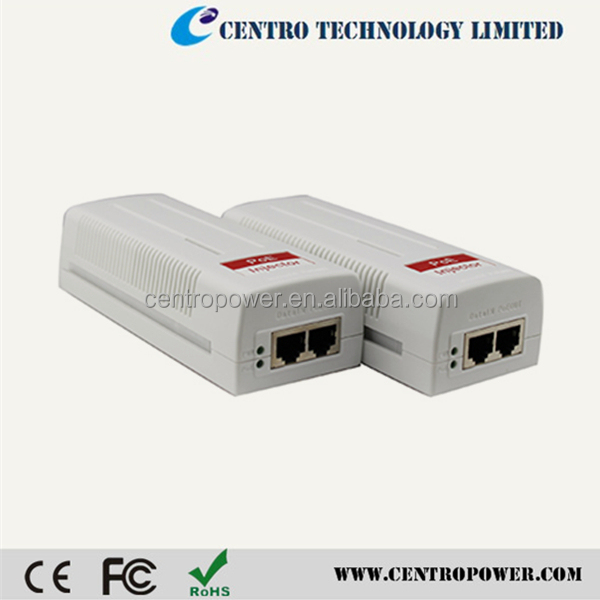 Internal AC/DC converter 10/100/1000M IEEE802.3at (30W) gigabit poe injector 48v