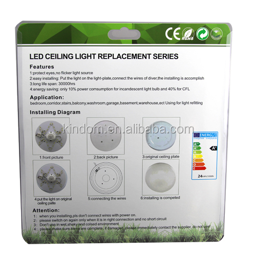 CE Rohs approved 24W led ceiling light replacement, double color led ceiling light