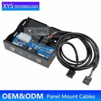 XYS TECH Floppy Drive 9pin to 9pin Header 2ports USB2.0 HUB+2Ports Audio USB2.0 Audio Port Front Panel/