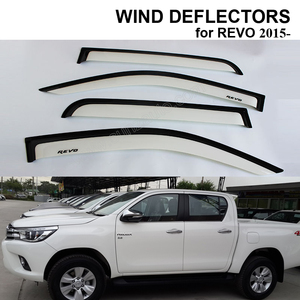 WHITE & BLACK DOOR VISOR RAIN SUN GUARD WIND DEFLECTORS WINDOW VISOR VENT FOR HILUX REVO 20152016 ACCESSORIES