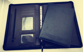 A4 Credit Card Zipper Style Black Leather Portfolio