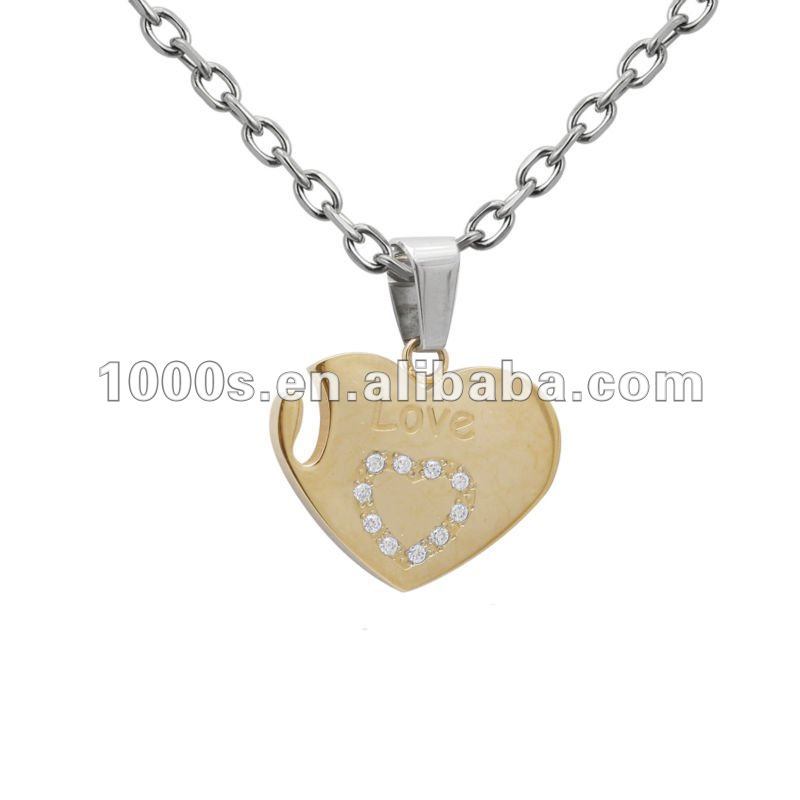 Stainless Steel Heart Pendant,Gold Charms