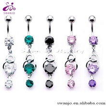 Stainless Steel Navel Ring with multi prong set gem dangle charm Belly Button Ring Body Piercing Jewelry