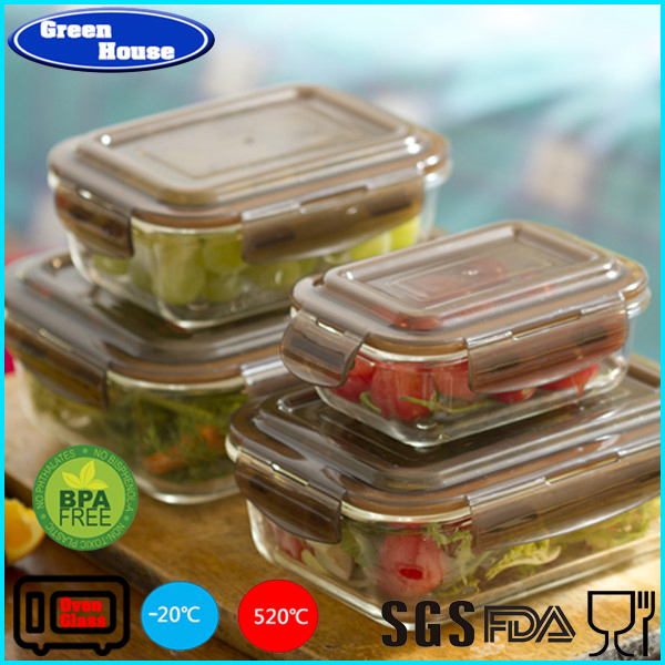 High Quality Borosilicate Glass Food Container With PP Lid Rectangle