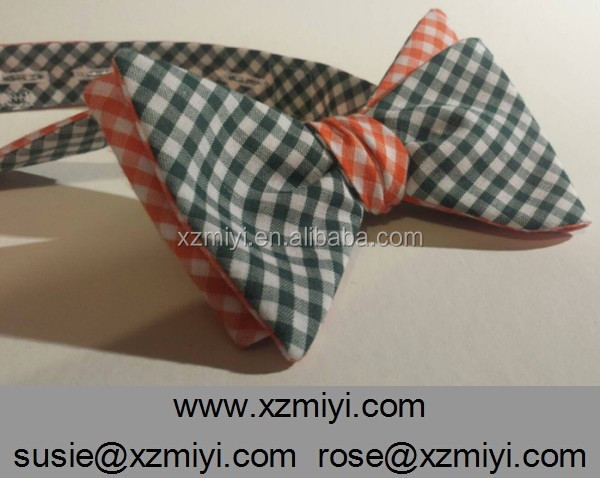 <strong>Orange</strong> and Green Reversible Gingham Bow Tie Checked Bow Tie Double Side Bow Tie For Young Men Wholesale
