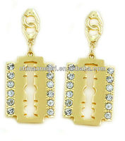 Post Metal Theme Crystal Pattern Razor Blade Earring