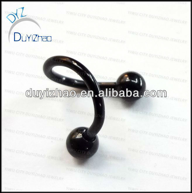fashion body piercing black eyebrow ring ear piercing spiral