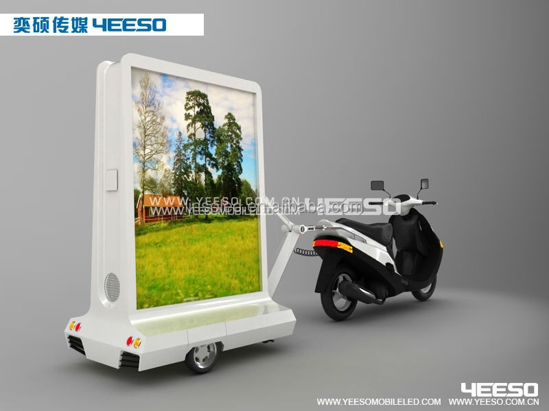 Shanghai Yeeso YES-M3 Outdoor Mobile Movable Bicycle/Motorcycle Trailer Advertising Scrolling Light Box with Speaker for Sale