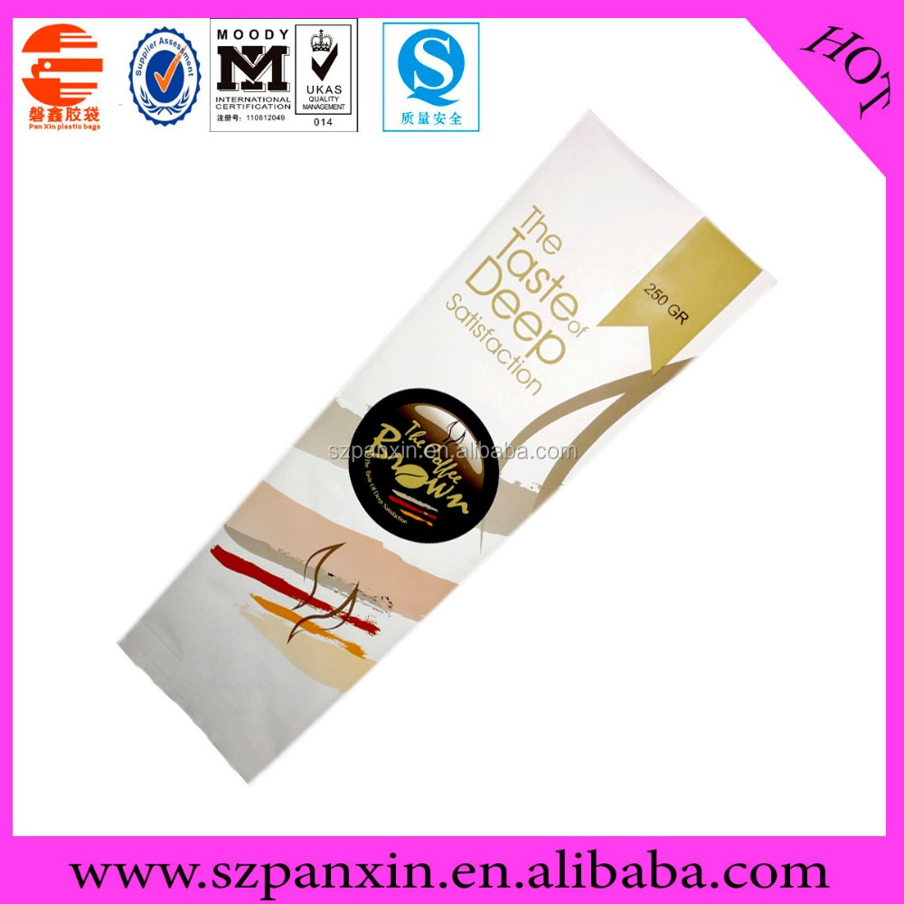 Custom Printed Foil lined side gusset coffee packaging with valve for 210g coffee