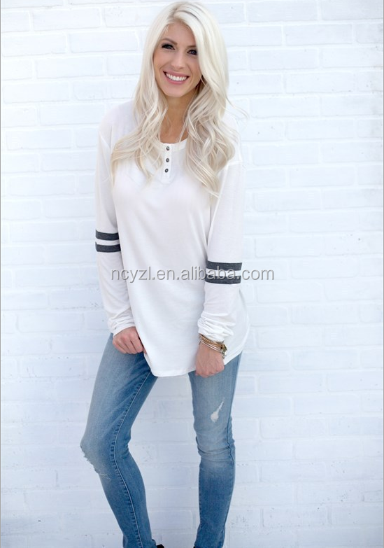 2017 Euramerican casual style cotton bulk blank overseas women long sleeve t shirts