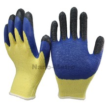 NMSAFETY black latex finger cot blue latex coated on palm glove yellow polycotton liner