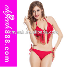 Top quality Sexy Fashion red padded waterproof colorful tassel sling bikini swimwear wholesale swimwear