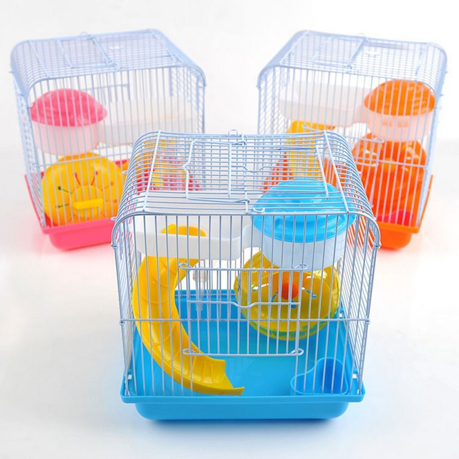 Pet furniture portable hamster cage with slide and running whell