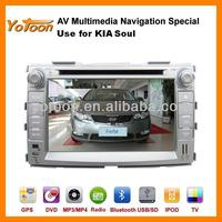 DVD GPS Player for Soul, HD/PIP/11 languages USB/SD/BT/IPOD/AV-in/AUX/ back view/car logo/wallpaper