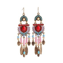 Lovely Metal Feather Pendant Enamel Resin Beaded Chandelier Earring for Girl Gift