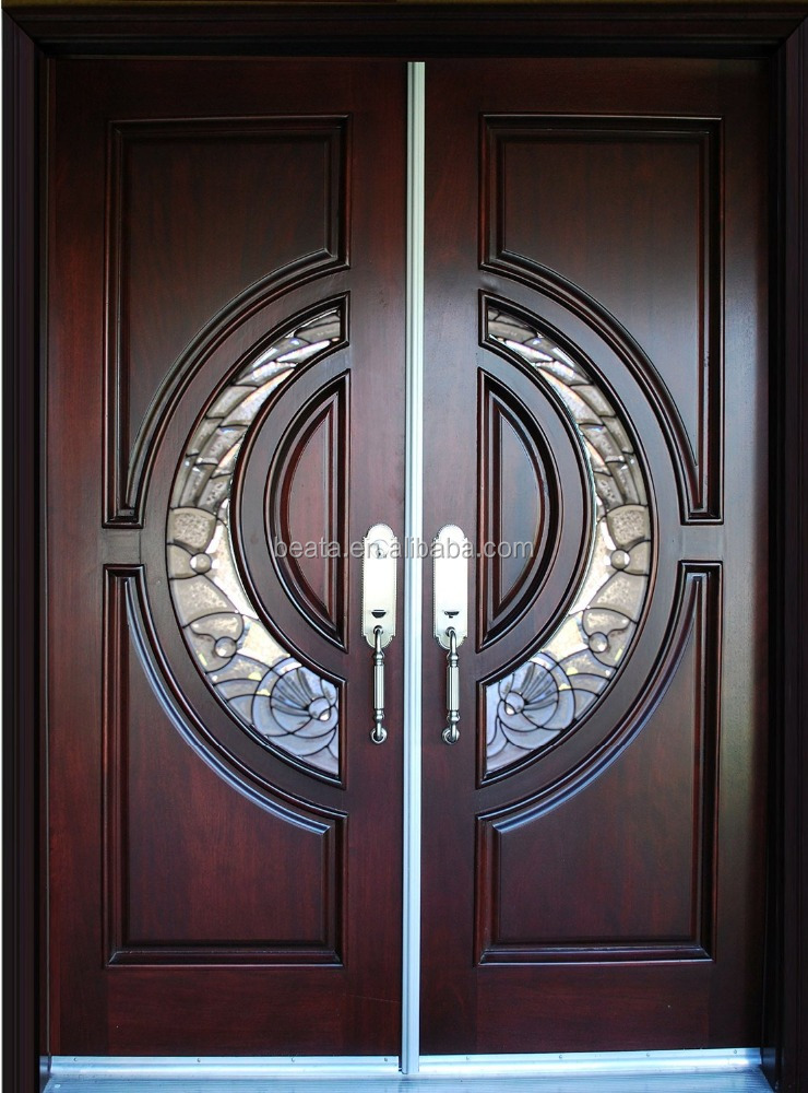hot sell 100% Mahogany solid Wood Door double main entry door