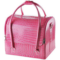 Pink Crocodile Makeup Train Bag Handbag Case w/Removable Tray Cosmetic Organizer