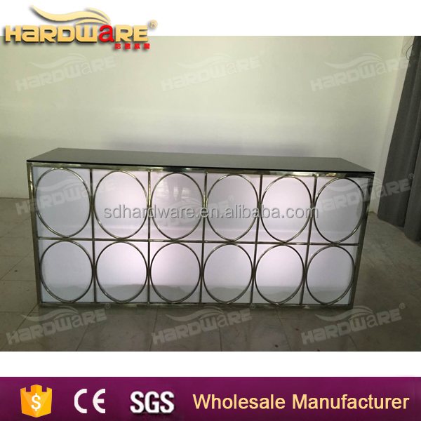 Foshan stainless steel glass top LED light bar counters square pub table