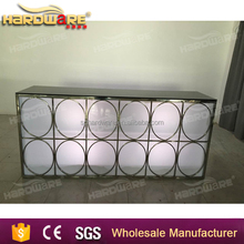 stainless steel LED light bar table with glass top for party