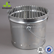 13L metal material BBQ bucket with grill and handle