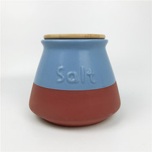Ceramic cookware Salt Storage jar with Wood Bamboo Lid Terracotta Coffee Canister