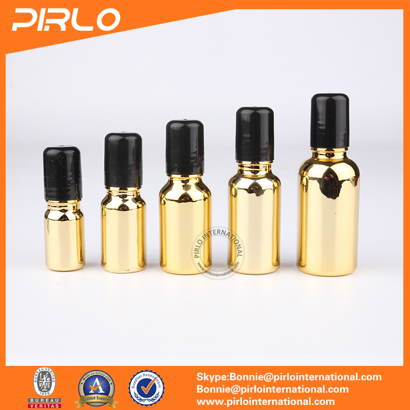 5ml 10ml 15ml 20ml 30ml Gold Color essential oil cosmetic bottle roll- on glass bottle