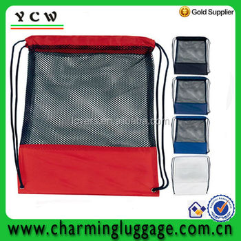 Nylon Mesh Drawstring backpack bag /Mesh Pocket Drawcord Bag