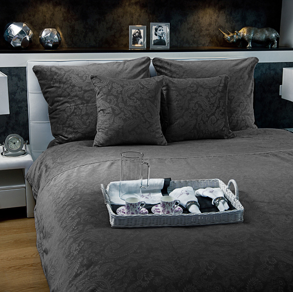 Emma luxury velvet bedding set 220x200 grey desire