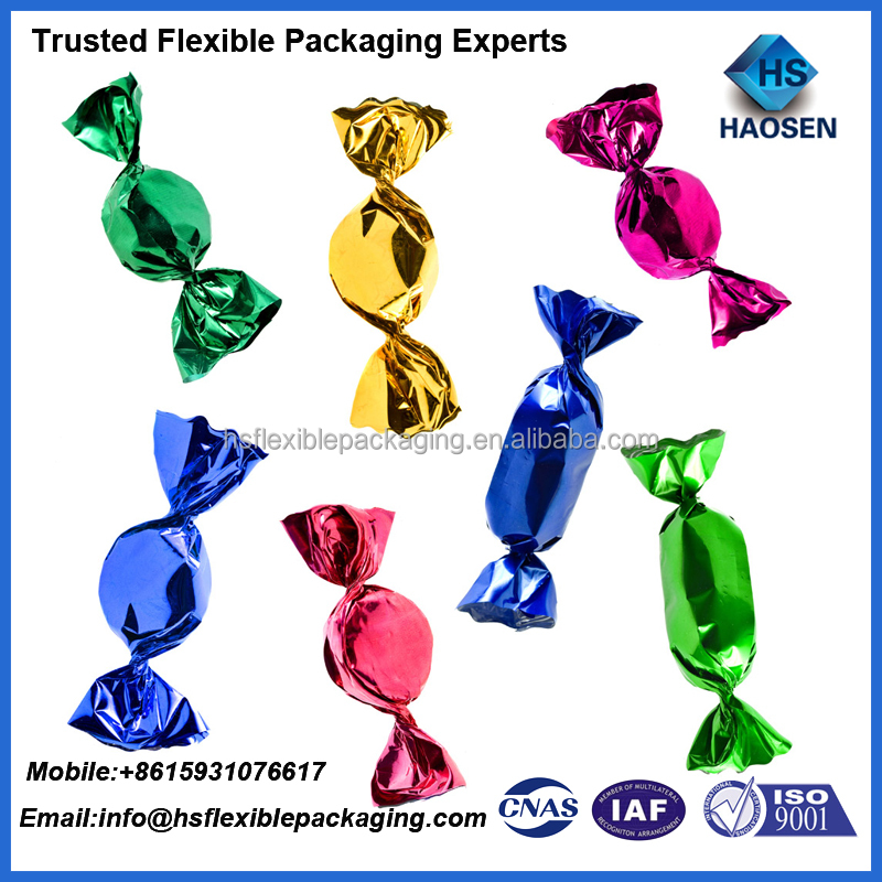 custom printing laminated plastic PET candy twist film/twist-able candy film/plastic pet twist film for candy wrapper