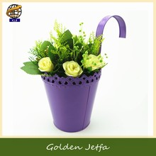 violet hanging metal flower baskets and planters for mini garden decor