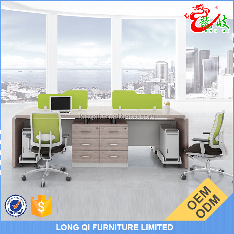 2015 latest product melamine material office furniture 4 seater office staff table