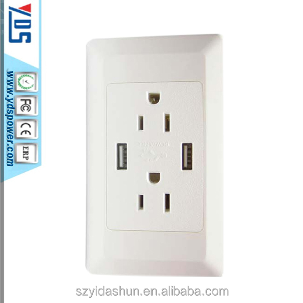 Us type double 3 pin wall sockets electrical usb outlets and wall switch socket