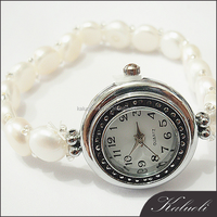 Lady fashion smart natural pearl jewelry watch