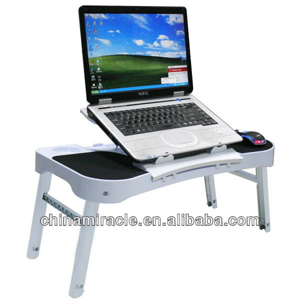 Multi functional laptop table with hubs and led light.with cooling fan