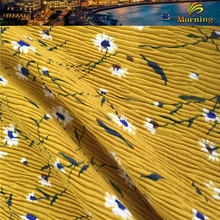 Soft Tough Daisy Flower Printing Pattern Thick Pleated Chiffon Velvet Fabric