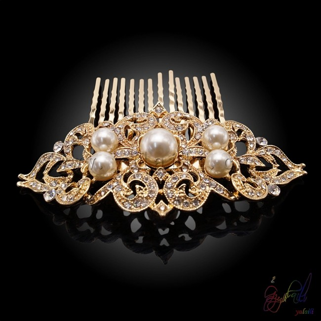 gold rani haar designs accessories for jewelry Gold-plated pearl crown hair accessories
