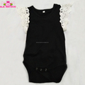 Boutique Infant & Toddler Lace Wing Black Onesie Sleeveless Baby Girls Cream Lace Shoulder Romper Onesie