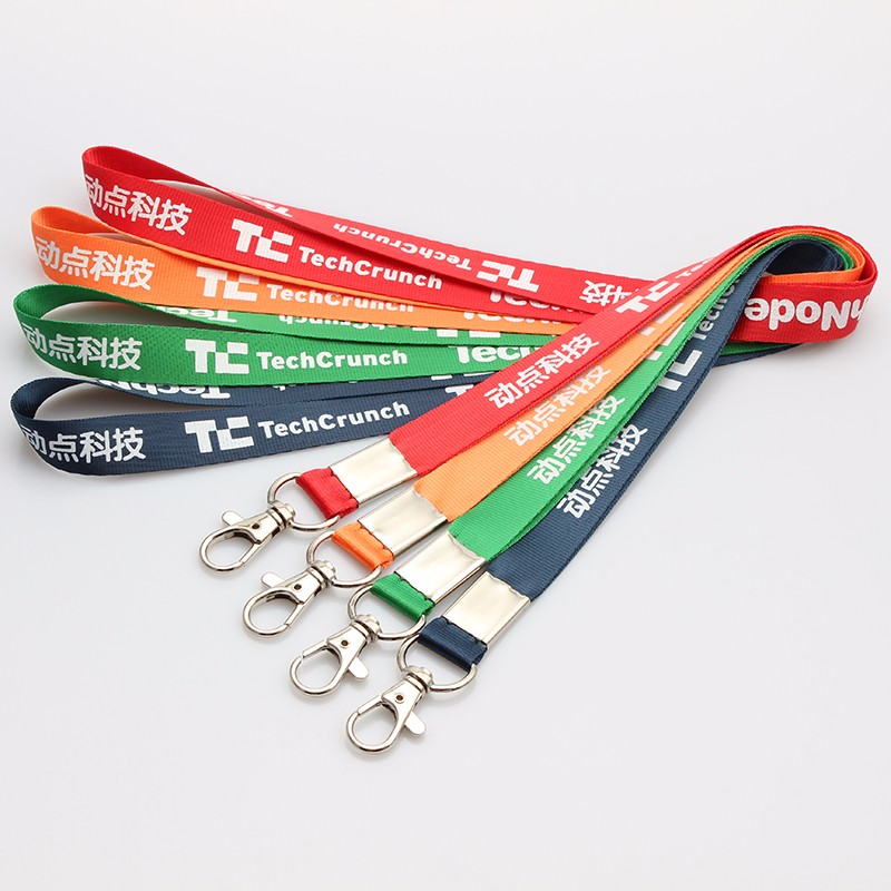 Custom brand name flat silkscreen printing nylon solid color lanyard