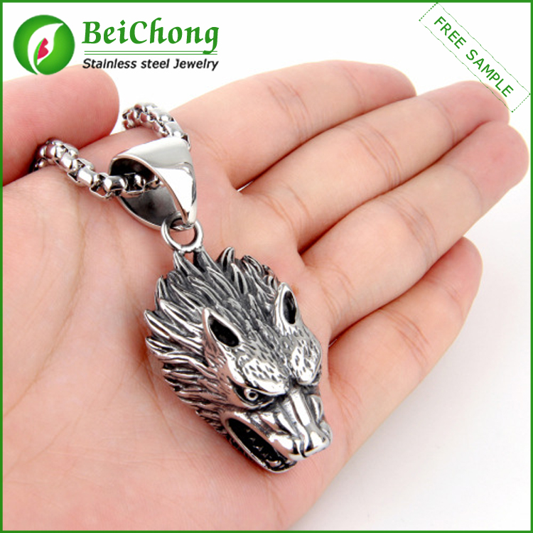 Wholesale Custom <strong>Silver</strong> Men's Stainless Steel Lion's Head Necklace Pendant