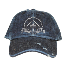custom plain distressed baseball caps embroidery, washed denim dad hat
